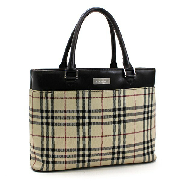 Burberry Tote Bag Nova Plaid Nylon x Leather Beige Brown BURBERRY Ladies Handbag Silver Hardware