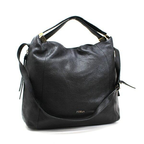Furla 2WAY Shoulder Bag Handbag Gold Hardware Leather Black F5642 FURLA For Ladies