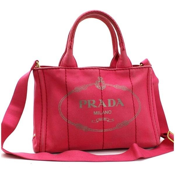 Prada Canapa Mini 2WAY Handbag Shoulder Bag B2436G Canvas Pink PRADA For Ladies