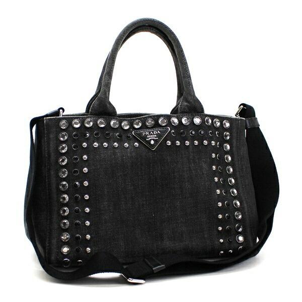 Prada Canapa Mini 2WAY Shoulder Bag Handbag Denim Bijunero (Black) B24390 PRADA Women's Triangular Plate with 2 Way