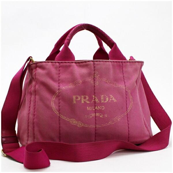 Prada Canapa S Mini 2WAY Handbag Shoulder Bag Canvas Pink PRADA Triangular Plate for Ladies