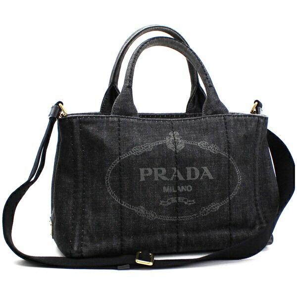 Prada Canapa Mini 2WAY Shoulder Bag Handbag Denim Nero (Black) B2439G PRADA Women's Triangular Plate with 2 Way