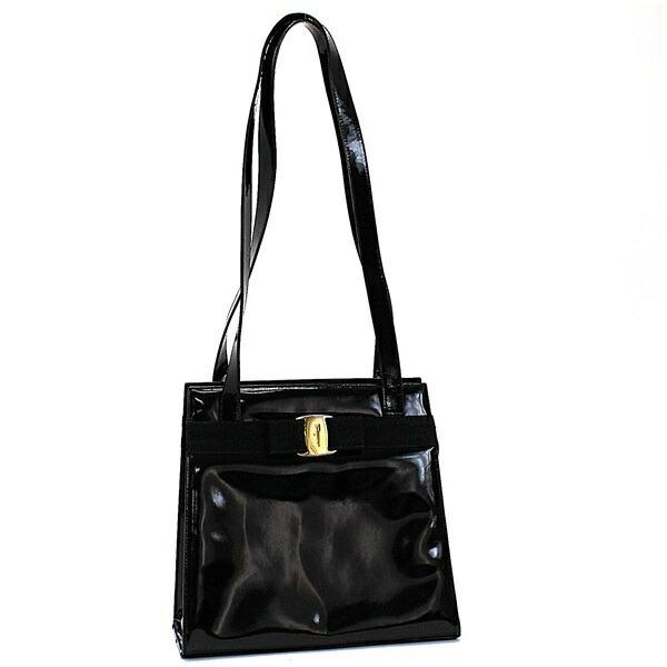 Salvatore Ferragamo Vala Shoulder Bag Enamel Gold Hardware Black BC216676 Ladies Formal Tote Included
