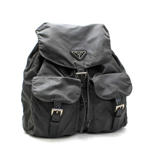 Prada Nylon Back Bag Backpack Triangular Plate x Leather Silver Hardware Gray PRADA Ladies Men