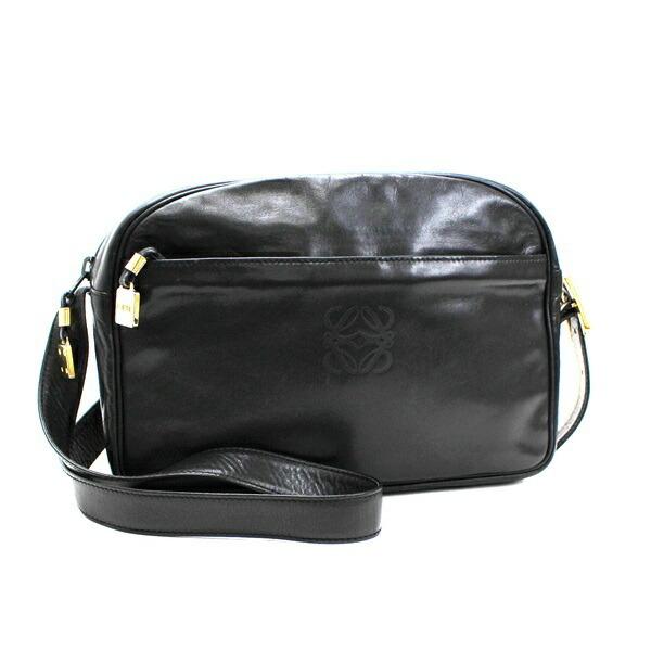 Loewe Anagram Shoulder Bag Leather Gold Hardware Black LOEWE Women's Soft