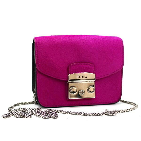 Furla Chain Shoulder Bag Metropolis Pochette Harako Silver Hardware Pink FURLA Ladies Mini Size