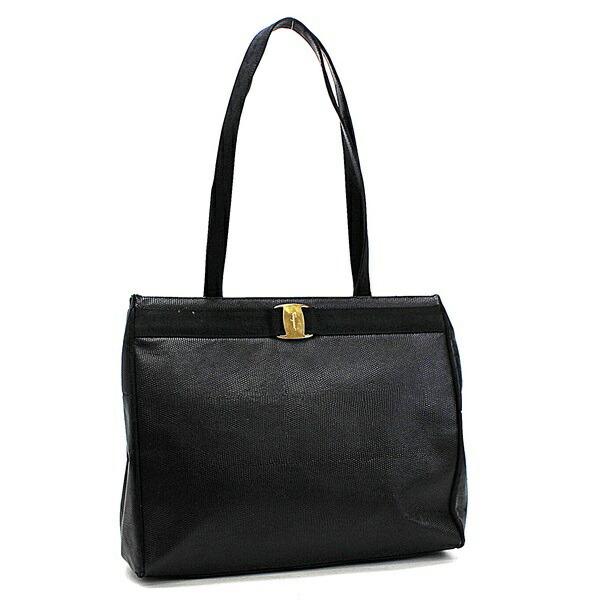 Salvatore Ferragamo Vala Shoulder Bag Tote Embossed Leather Gold Hardware Black AU-21 2530 Formal for Ladies