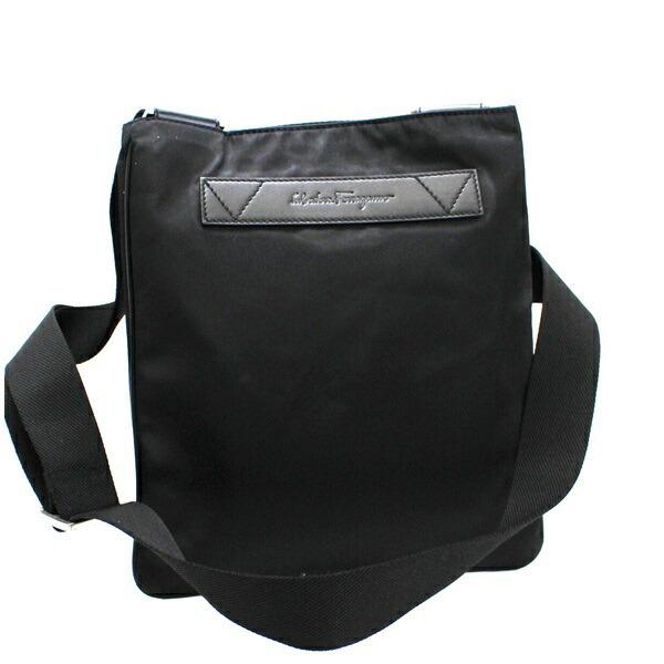 Salvatore Ferragamo Nylon Shoulder Bag DS-245573 Black x Leather Men's Women's Acceptable