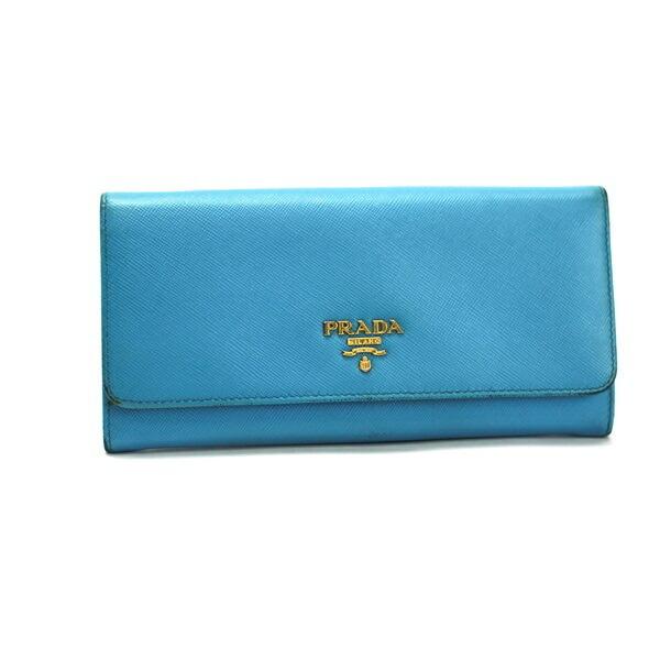 Prada Saffiano Bi-Fold Wallet Logo Light Blue 1M1132 PRADA Women's Gold Hardware