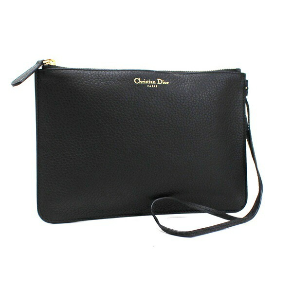 Christian Dior Clutch Bag Pouch Accessories Leather Gold Hardware Black Mini with Thin Handle for Ladies