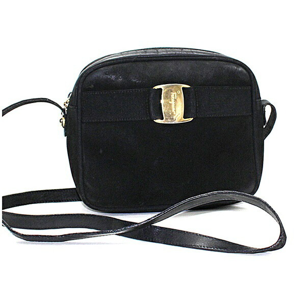 Salvatore Ferragamo Vala Shoulder Bag Suede x Leather Gold Hardware Black Ladies Pochette