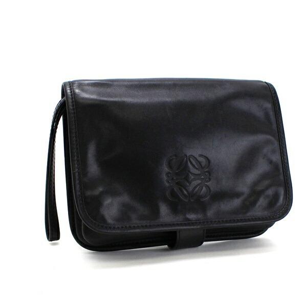 Loewe Clutch Bag Leather Black LOEWE Men's Women's Second