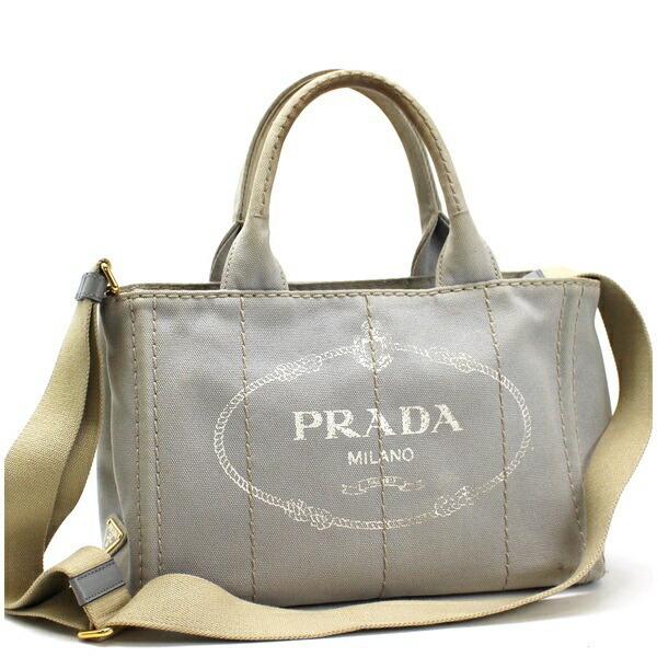 Prada Canapa S Mini 2WAY Shoulder Bag Handbag 1BG439 Canvas Gray NUBE PRADA Triangular Plate for Ladies