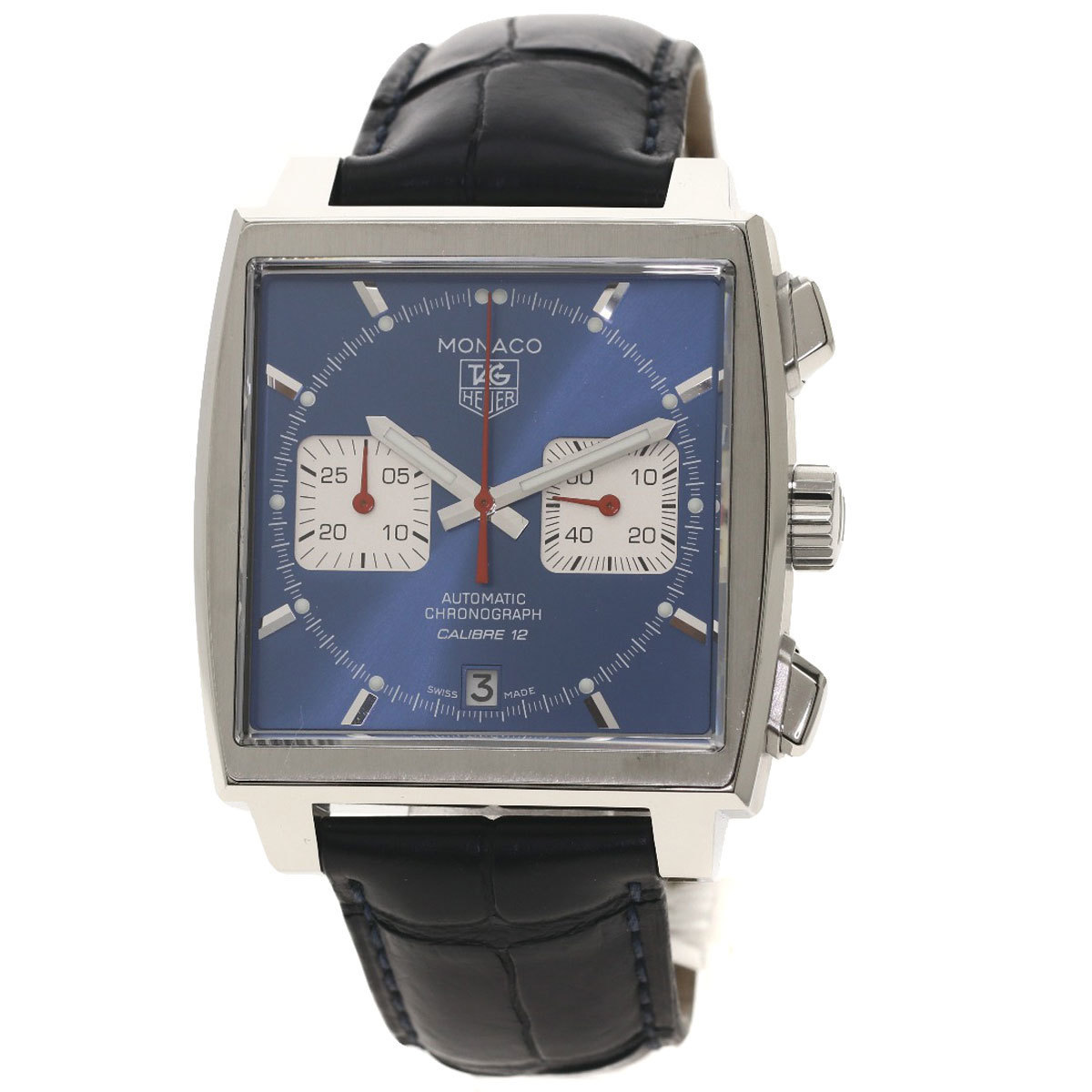 TAG Heuer CAW2111-0 Monaco Caliber 12 Stave McQueen Watch Stainless Steel Leather Men