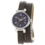 Louis Vuitton Q1211 Tambour Triple Coiled Watch Stainless Steel Leather Mens