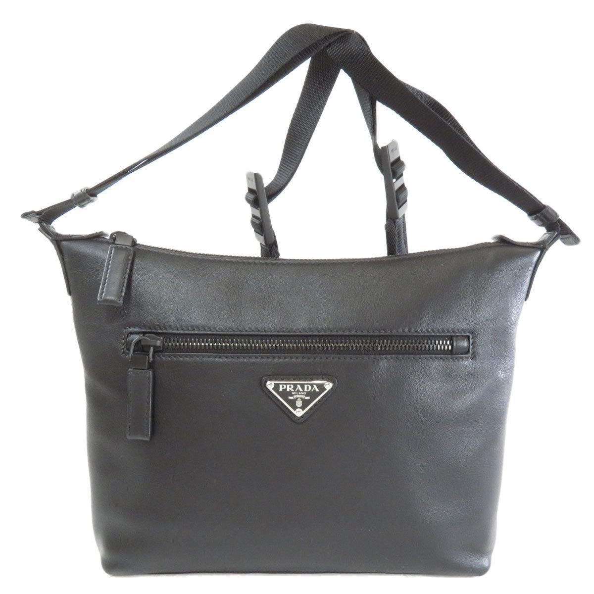 Prada 2VH078 logo plate shoulder bag leather ladies
