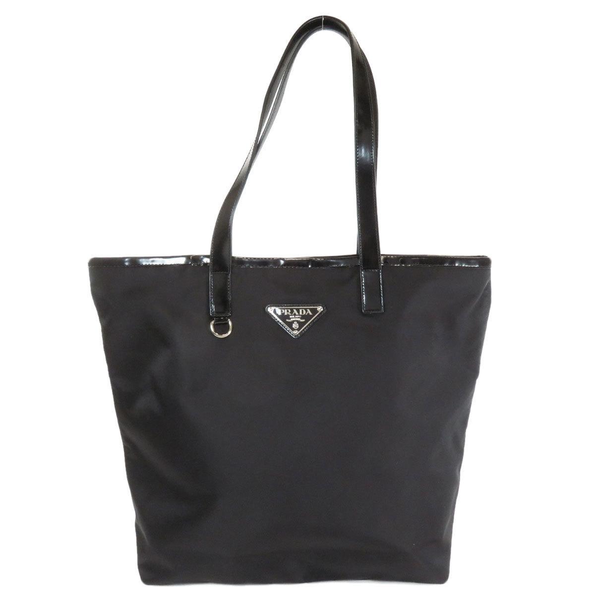 Prada Logo Motif Tote Bag Nylon Leather Ladies