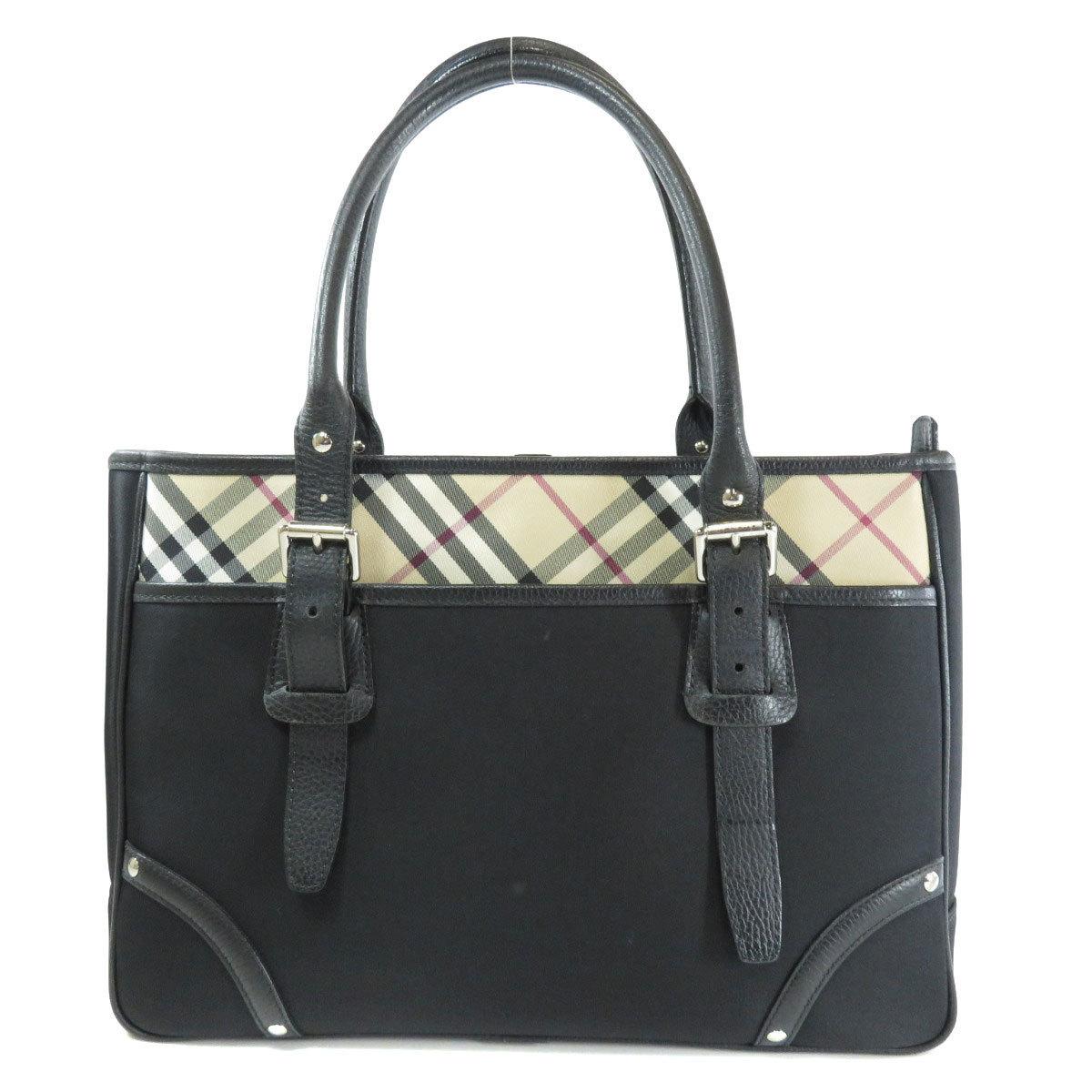 Burberry Nova Check Tote Bag Nylon Leather Ladies