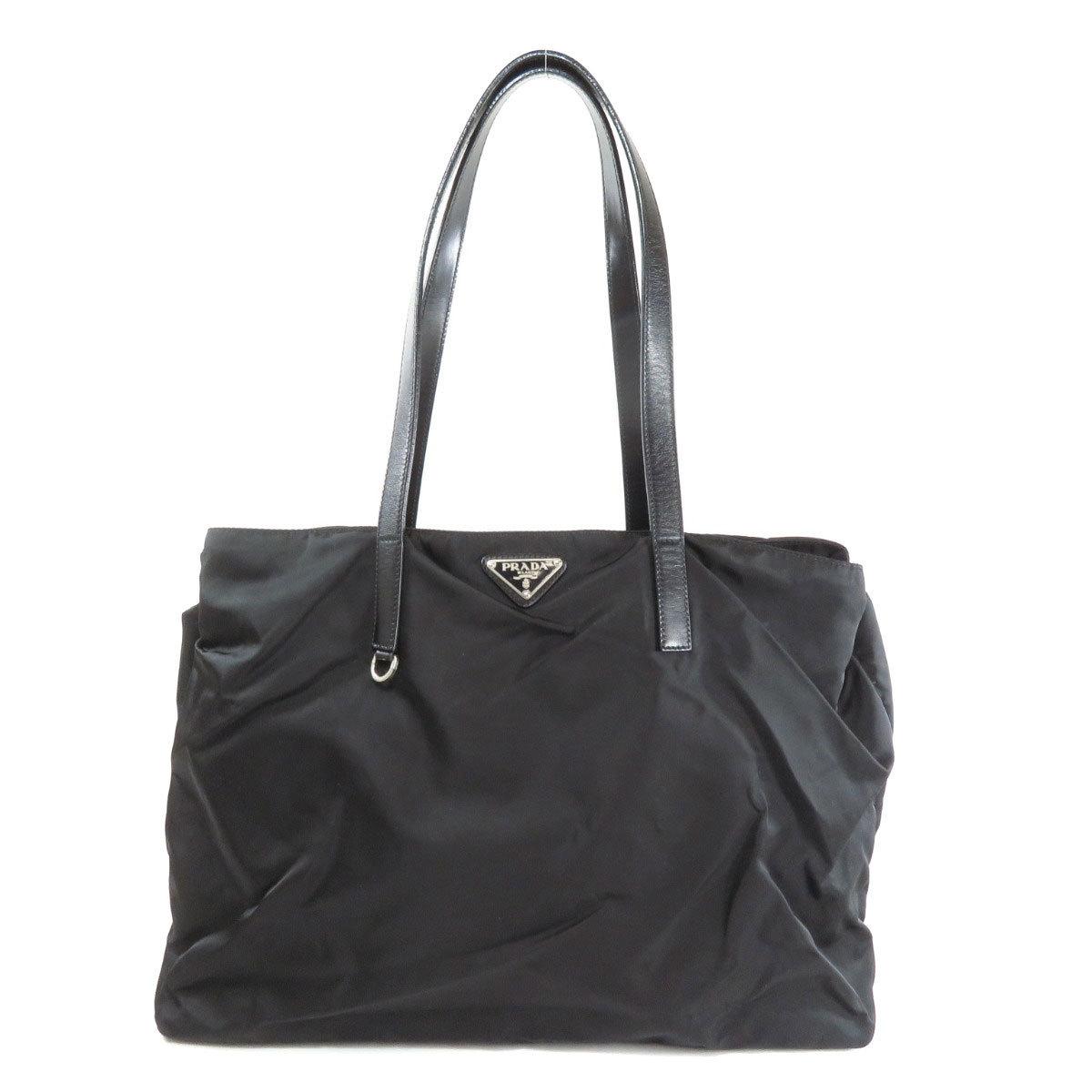 Prada Logo Plate Tote Bag Nylon Leather Ladies