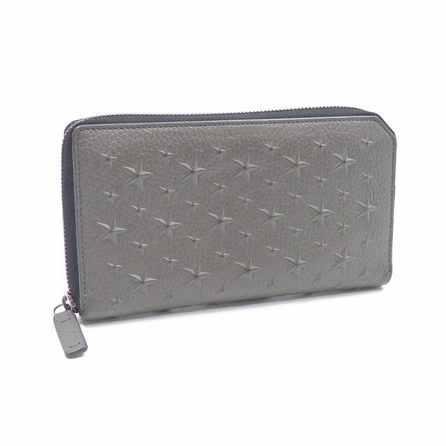 Jimmy Choo Round Zipper Wallet Ladies Gray Leather Star Embossed