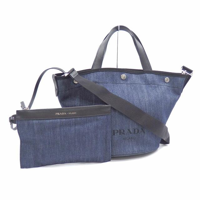 Prada Handbags Women's Blue Nero Black Denim Leather 1BG244 Shoulder 2WAY With Pouch