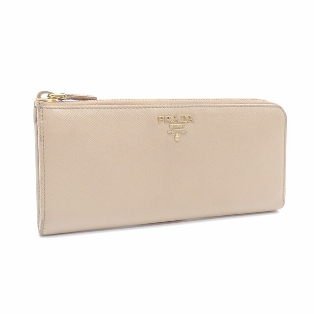 Prada L-shaped zipper wallet ladies beige saffiano leather 1M1183