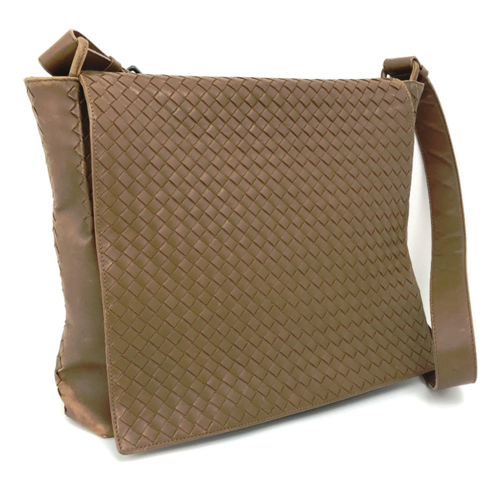 Bottega Veneta Shoulder Bag Intrecciato 221065 Calf Leather Brown Men's BOTTEGA VENETA