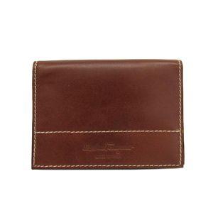 Salvatore Ferragamo Business Card Case Leather Brown IY-66 4525