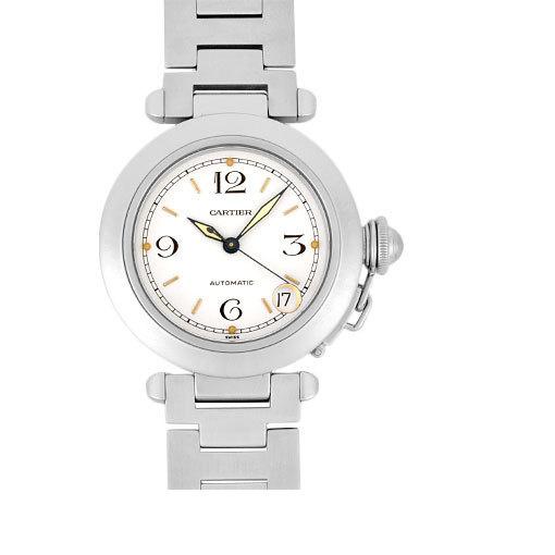 Cartier Pasha C SS Boys watch self-winding white dial W31015M7