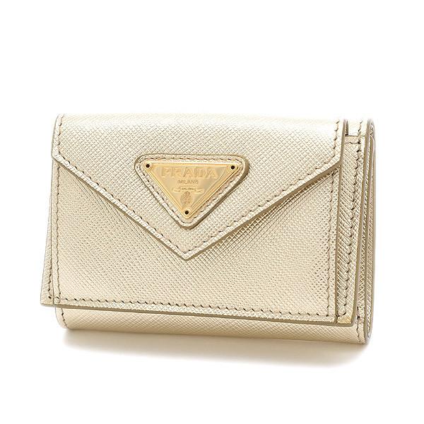 Prada Saffiano Tri-Fold Wallet Compact Gold 1MH021