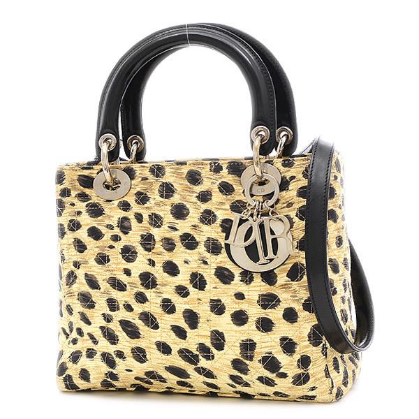 Christian Dior Dior Lady Canage Leopard Print 2Way Bag Canvas Handbag