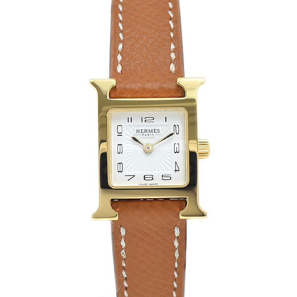 Hermes H Watch Mini Ladies White Dial Sunbeam Stainless Steel Vaux Epson Quartz HH1.101