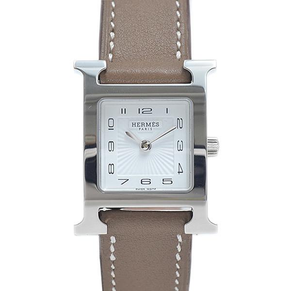 Hermes H Watch Ladies White Dial Sunbeam Stainless Steel Vaux Swift Quartz HH1.210