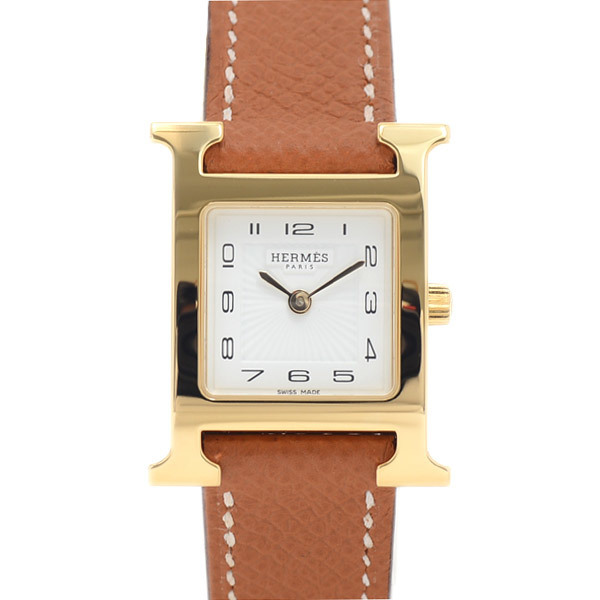Hermes H Watch Ladies White Dial Sunbeam Stainless Steel Vaux Epson Quartz HH1.201
