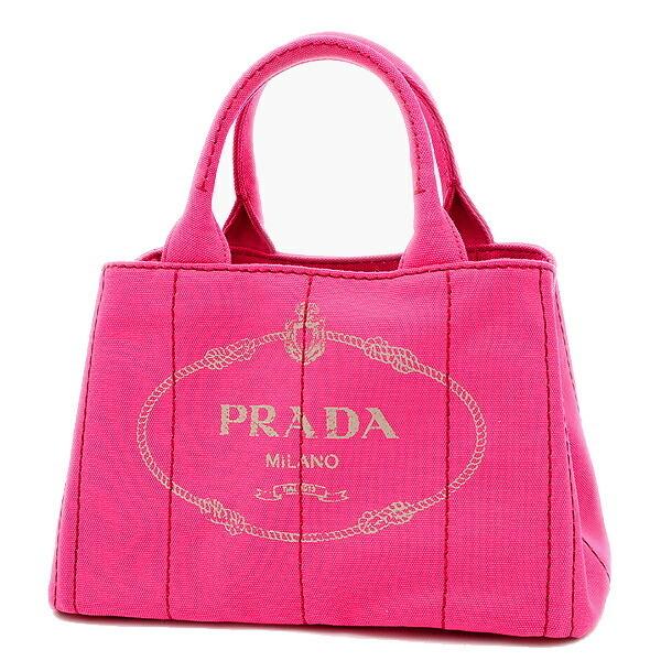 Prada Kanapatoto Handbag Canvas Pink 1BG439