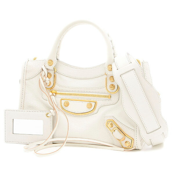 Balenciaga Mini City 2WAY Shoulder Bag Leather White 390160