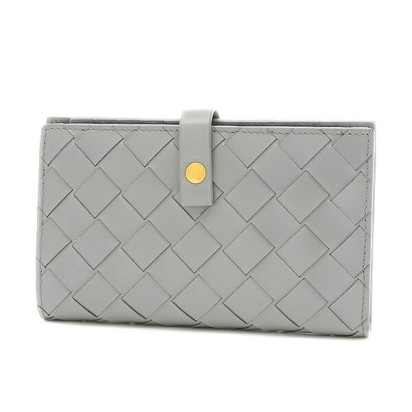 Bottega Veneta Maxi Intrecciato French Wallet Leather Light Gray 609070