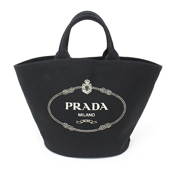 Prada PRADA Canapa Fabric Handbag CANAPA Black NERO Cotton Tote Bag with Pouch