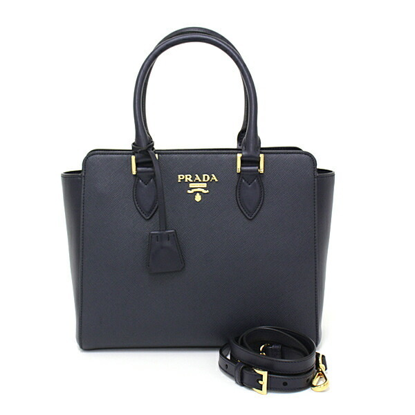 Prada PRADA Saffiano leather handbag SAFFIANO / SOFT C navy BALTICO 1BA113 tote bag shoulder 2WAY