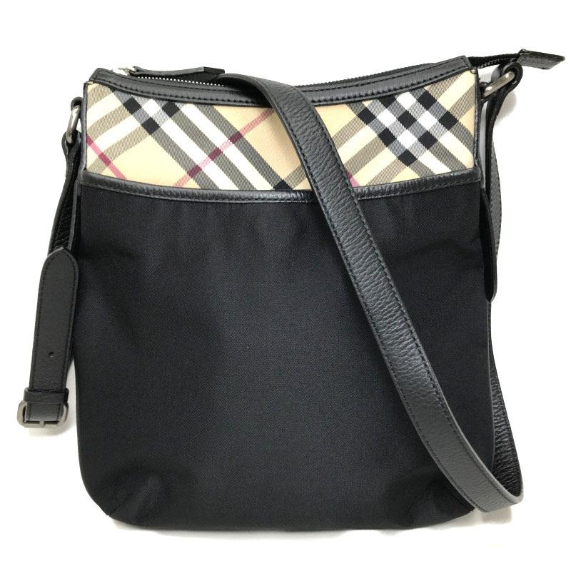 Burberry BURBERRY Shoulder Bag Leather Canvas Black Check Men's Women's