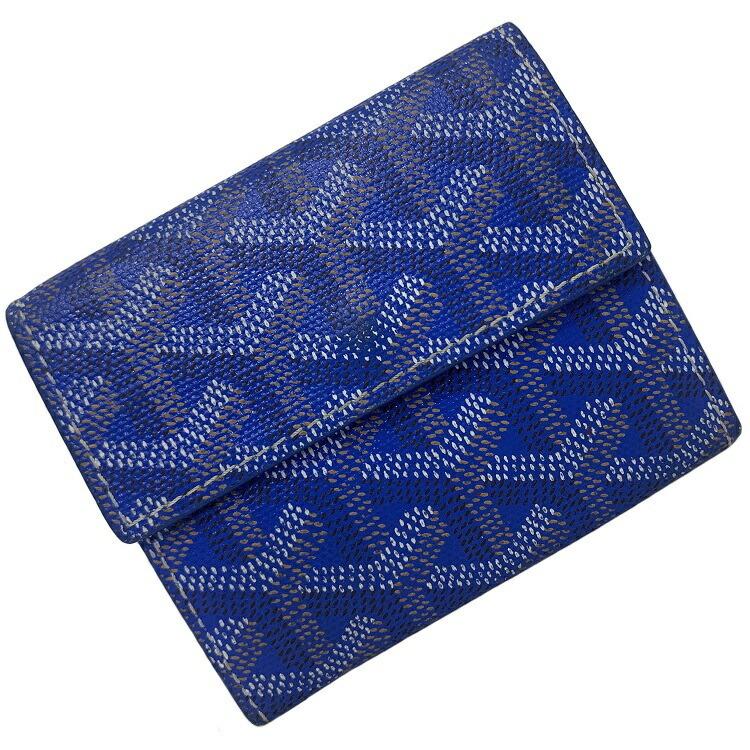 Goyard Mariney Blue Claire Yellow Herringbone Coin Purse Leather GOYARD Hook Men's