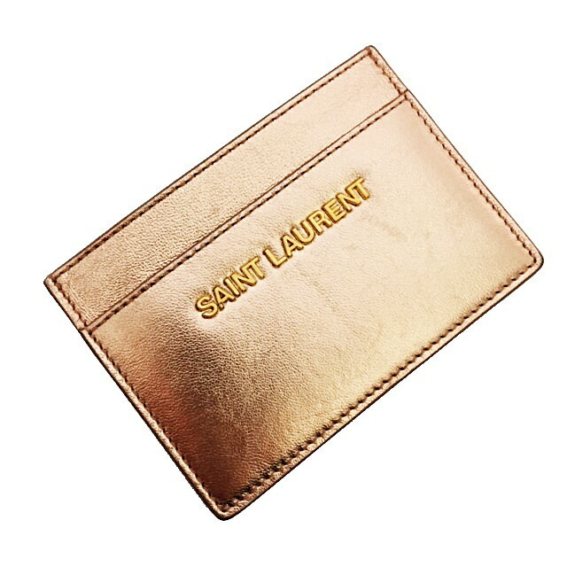 Saint Laurent Card Case 375946 Metallic Pink Gold Hardware Leather SAINT LAURENT Ladies Pass