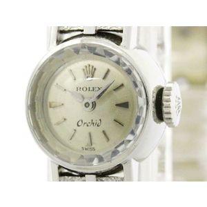 ROLEX ロレックス オーキッド ステンレススチール レザー 手巻き レディース 時計