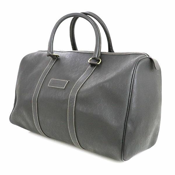 Christian Dior Honeycomb pattern black PVC leather Boston bag