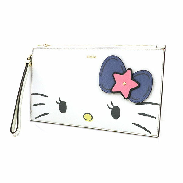 Furla FURLA Hello Kitty Collaboration White Leather Wallet Pouch Clutch Bag Ladies