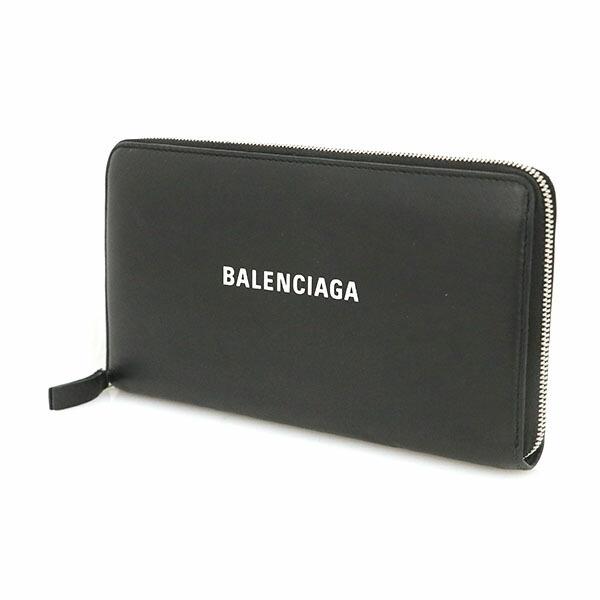 Balenciaga BALENCIAGA Black Leather Continental Zip Around Round Wallet Bi-Fold 551935 Men's Women's