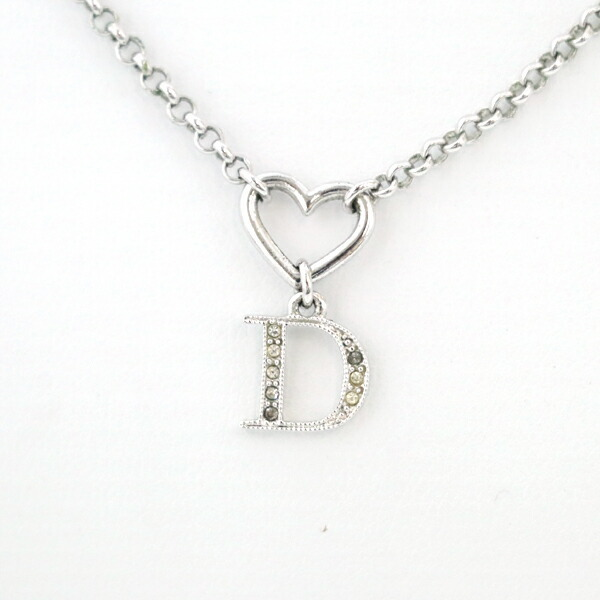 Christian Dior CHRISTIAN DIOR D logo rhinestone necklace ladies accessories silver plated