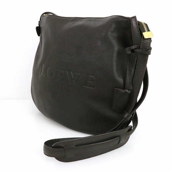 Loewe LOEWE Dark Brown Leather Shoulder Bag Ladies