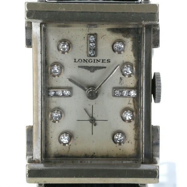 Longines LONGINES Exotic Rectangular 13P Diamond 9LT Manual Winding White Gold Dial Ladies Watch