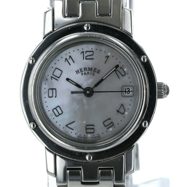 Hermes HERMES Clipper Date Arabia CL4.210 Quartz Shell Dial Ladies Watch